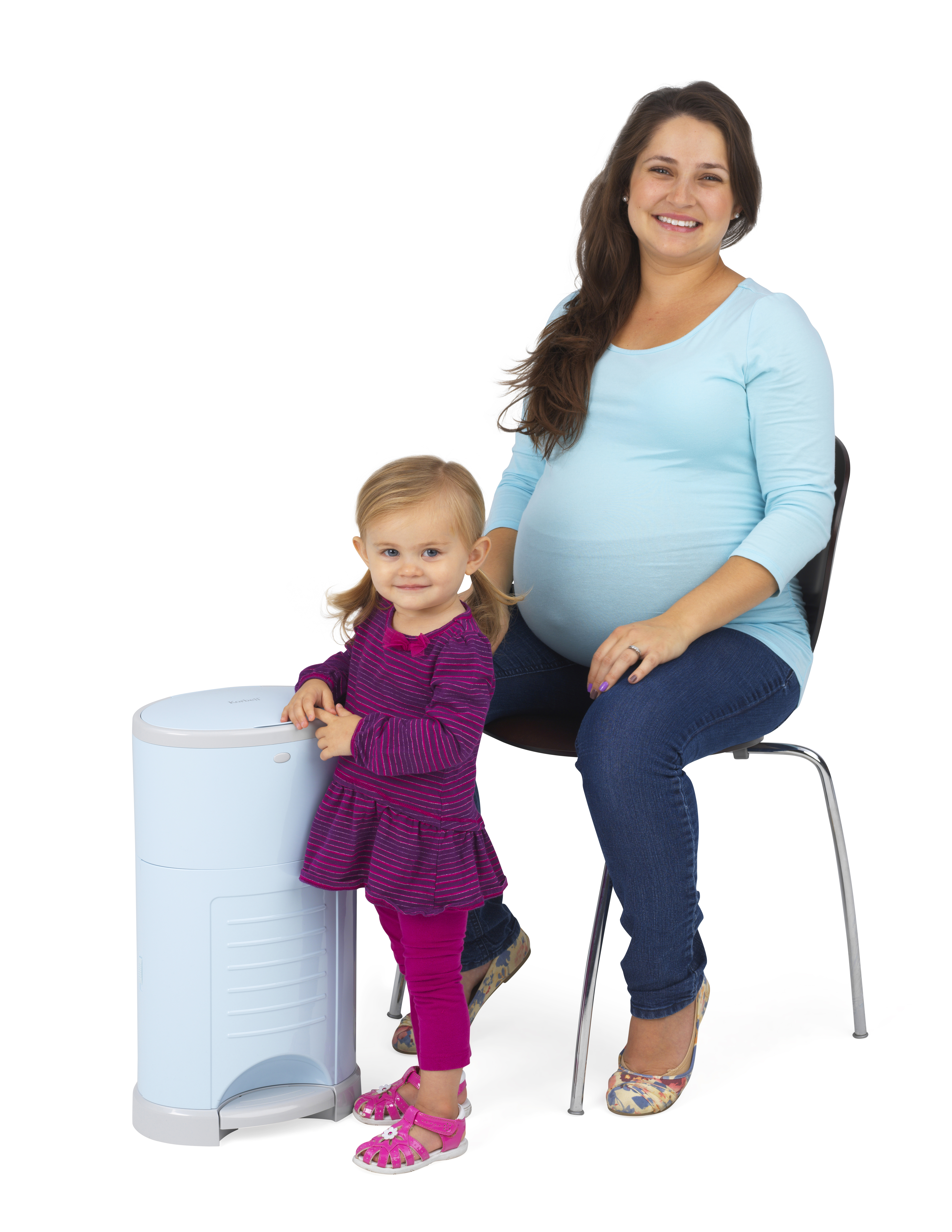 mom and daughter with korbell bin