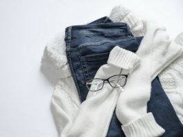 jeans and maternity clothes with glasses