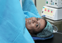 woman lying on operating table