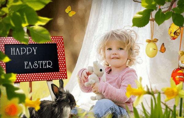 child in easter garden