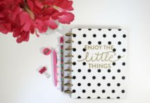 enjoy the little things book with pen, pencil, sharpener, flower in vase me time