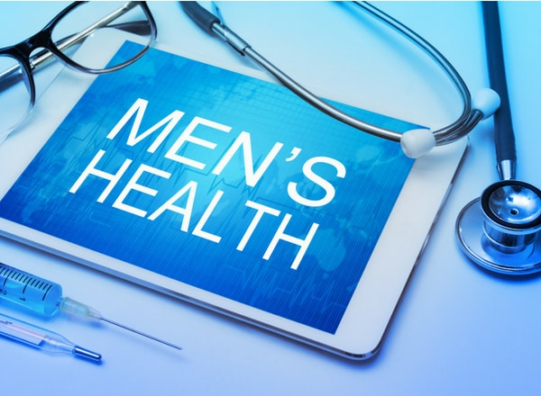 mens health on tablet with glasses injection