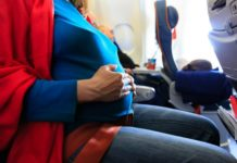 pregnant mom on an aeroplane on mango airlines