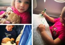 flying with kids colouring on aeroplane