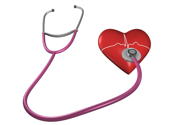 stethoscope attached to a heart listening for blood clots