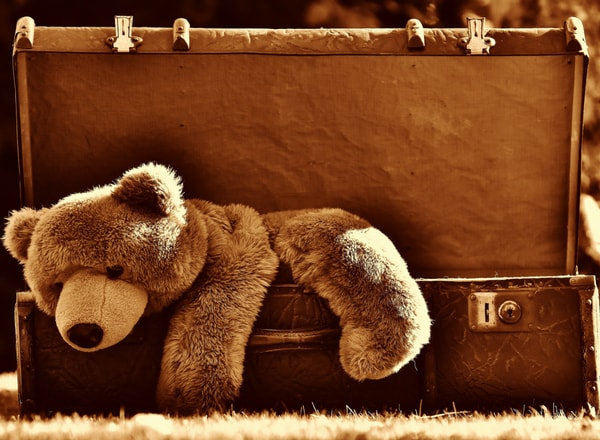 teddy in suitcase due to mommy guilt