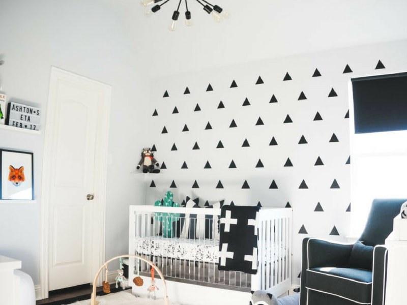 wall decals for a monochrome nursery