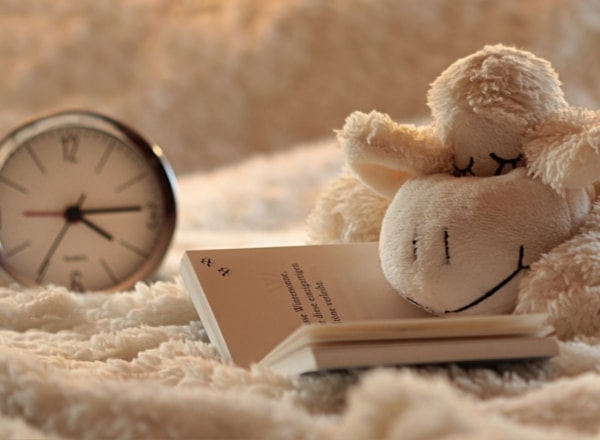 clock-with-stuffed-lamb-teddy