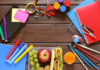 lunch box for a child with school supplies and stationery