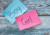gender stereotypes boy written on blue note and girl written on a pink note