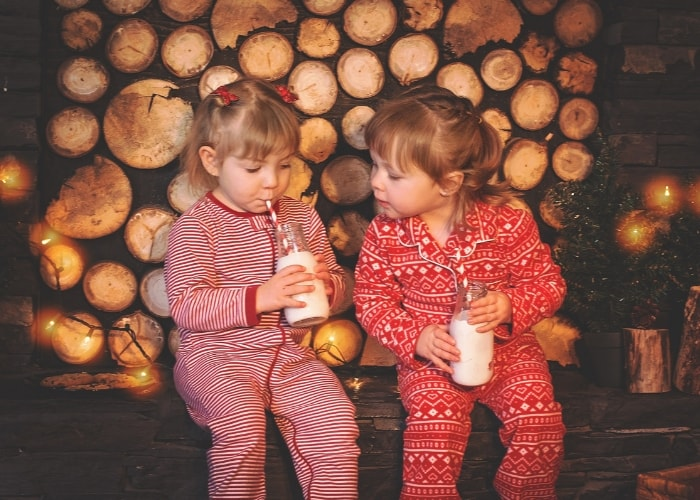 little-girls-drinking-milk-in-their-pajamas