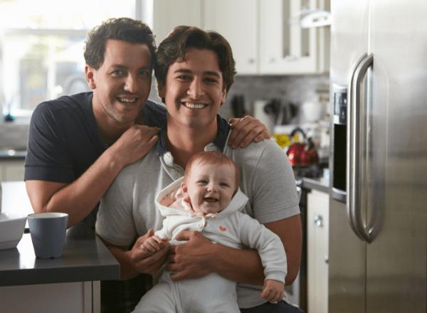 BabyYumYum_2 dads and their baby