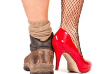 man-wearing-male-and-female-shoes-struggling-gender-identity