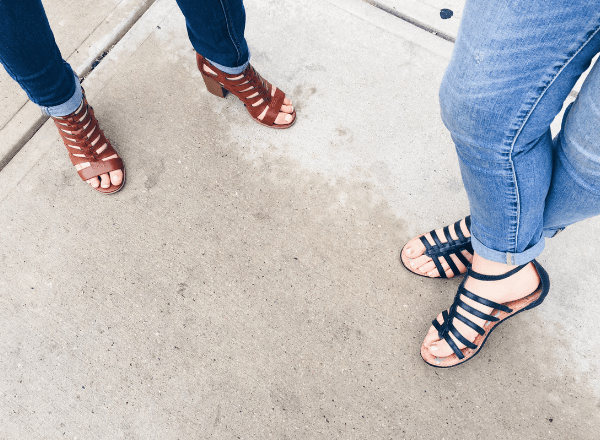 Ladies showing off their home pedicured feet in sandals
