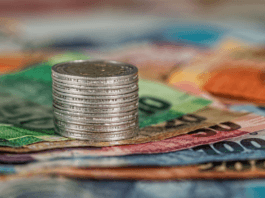South African money in notes and coins