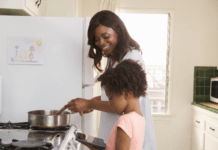 Parenting hack mom with her daughter, cooking in the kitchen
