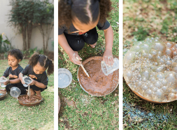 Three stages to make a mud pie volcano