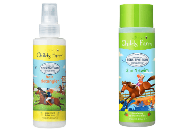 Childs Farm Hair Detangler and 3 in 1 Swim products