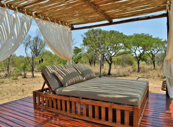 Covered sala at Safari Plains game lodge