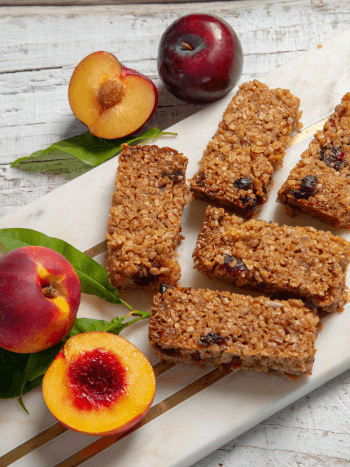 Oat and nut, plum and nectarine bars