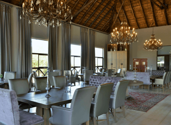 Dining hall at Safari Plains game lodge