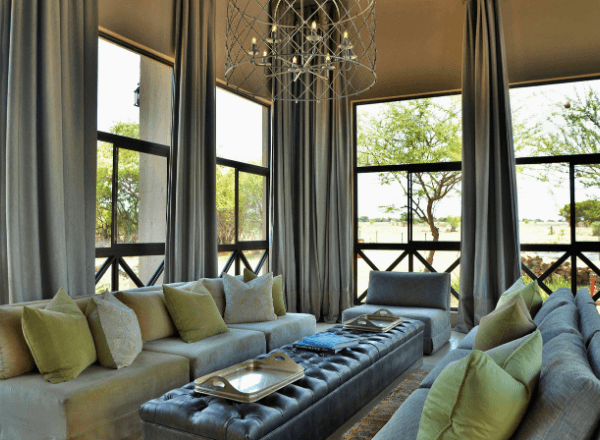 Main lodge lounge at boutique game lodge