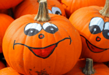 Happy and smiling Halloween pumpkins