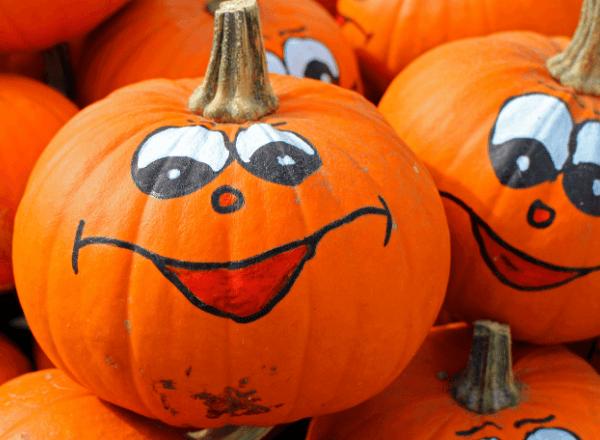 Happy and smiling Halloween pumpkins