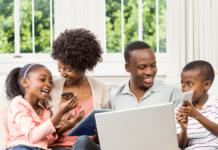 Parents teaching online safety to their children
