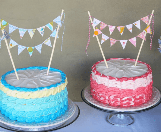Blue and pink cakes representing gender