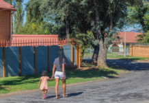 Mother walking in Johannesburg with her daughter