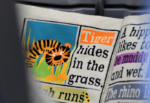 Newspaper headline: Tiger hides in the grass