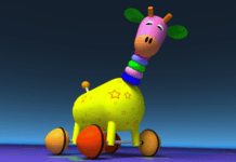 Cute multi-coloured toy giraffe
