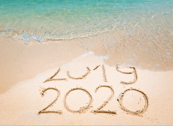 2019 washing into 2020 in the beach