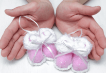 Cute pink baby shoes for twin girls