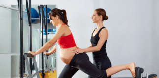 Pregnant mom doing Pilates to ease stress