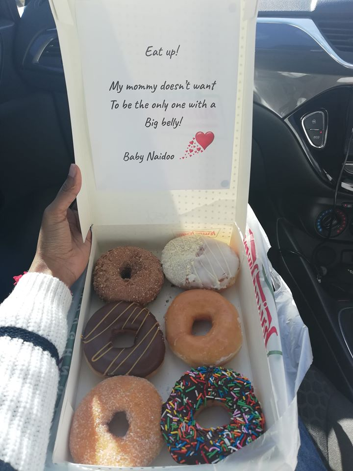 Rhea Naidoo pregnancy announcement with donuts