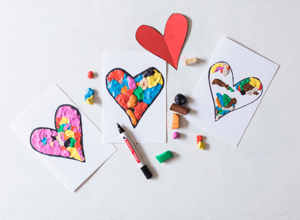 Easy Valentine's day clay heart card for kids