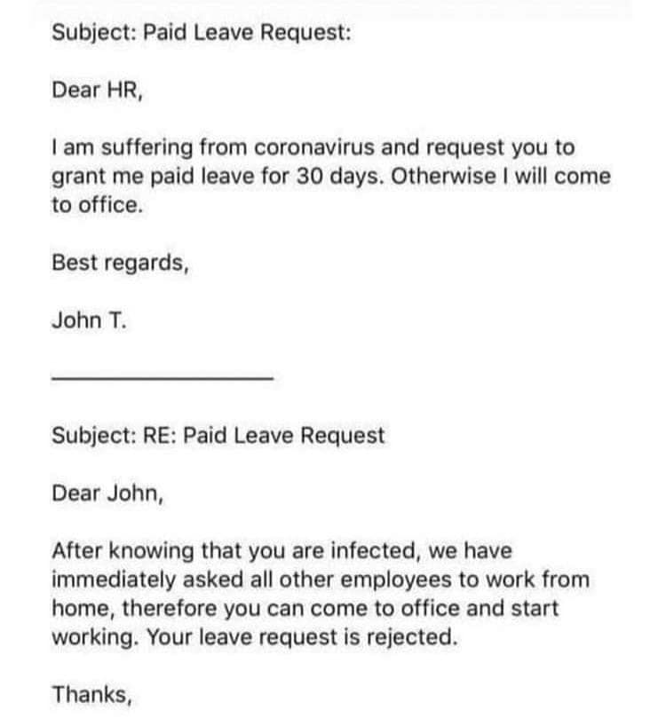 Paid leave request due to coronavirus