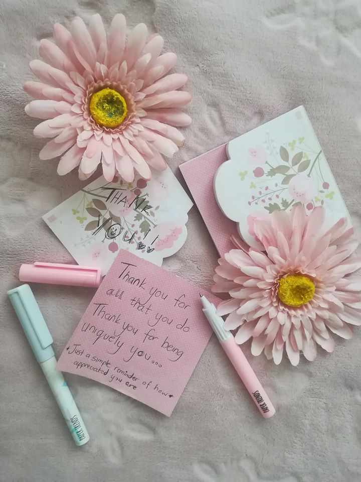 Pink thank you note for husband