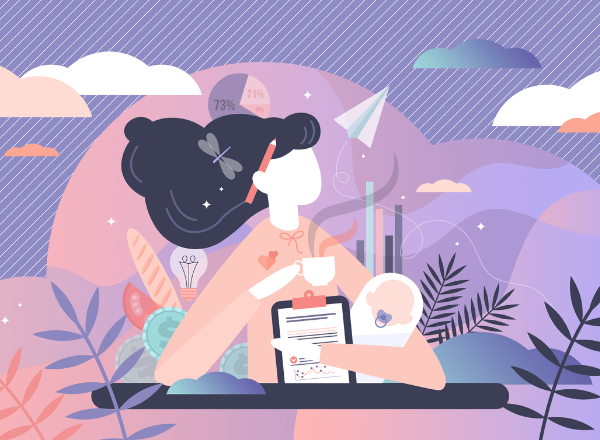 Pink and purple illustration of working mom
