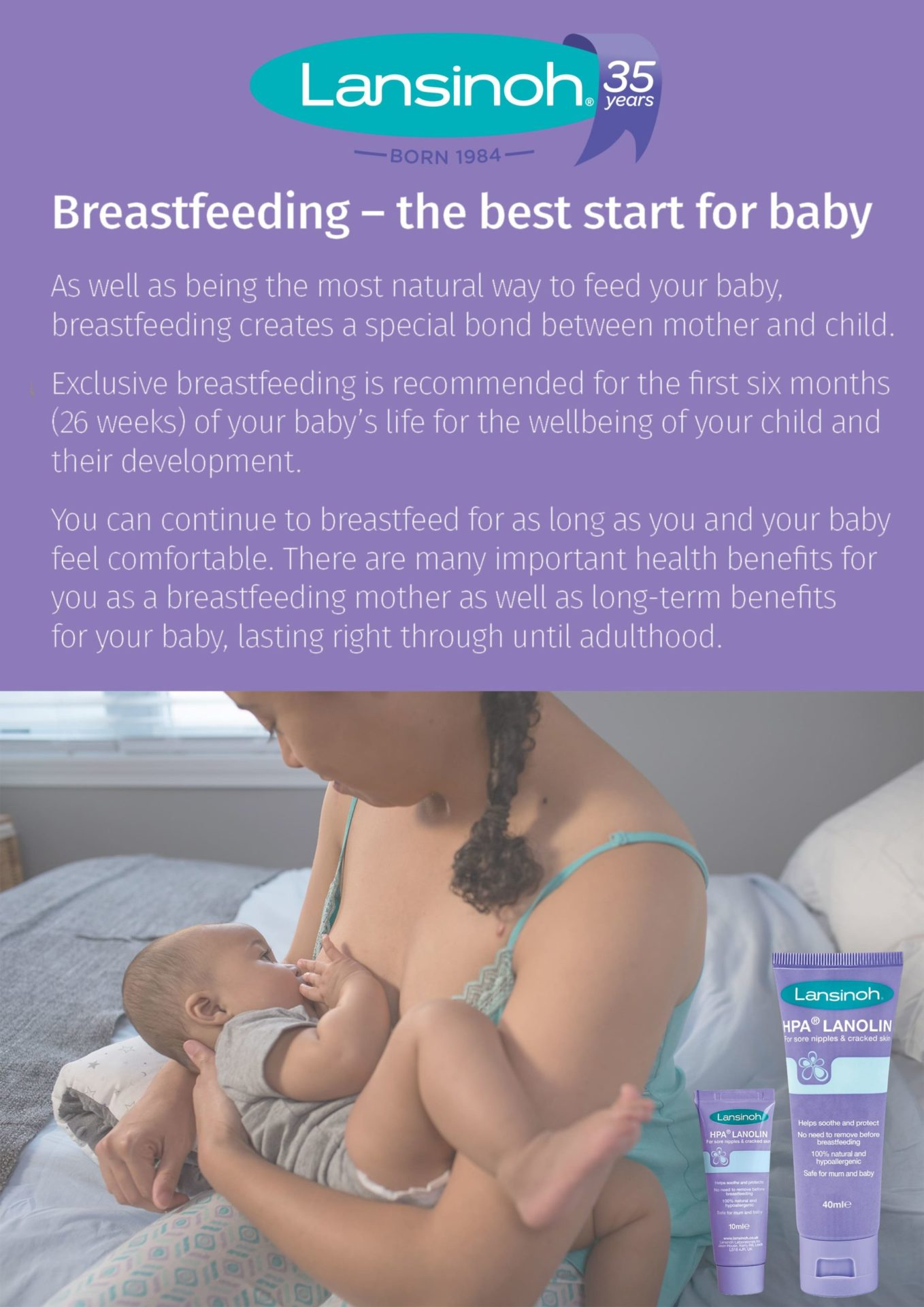 Poster of breastfeeding from Lansinoh