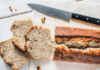 Baked banana bread slices on counter