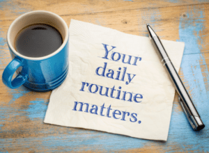 Routine quote on desk with pen and coffee