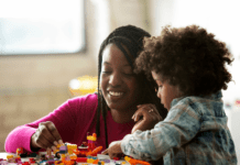 Mom and daughter building with Lego together
