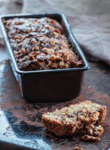 Nutella banana loaf in a baking tin