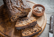 Recipe: Nutella banana loaf on board with knife