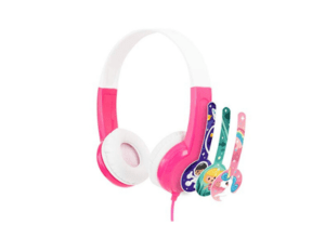 Pink and white volume limiting kids buddyphones