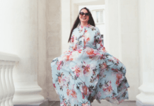 Plus size model wearing a beautiful dress shop online in South Africa