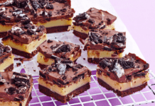 Chocolate caramel Oreo slice for a baking recipe
